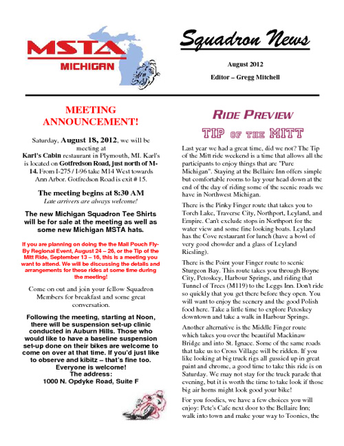 August 2012 Michigan MSTA Newsletter