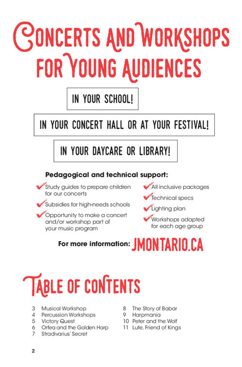 Concerts and Workshops for Young Audiences 2016-2017