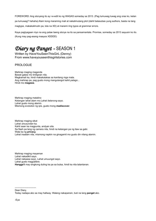 Diary ng panget by: Haveyouseenthisgirl