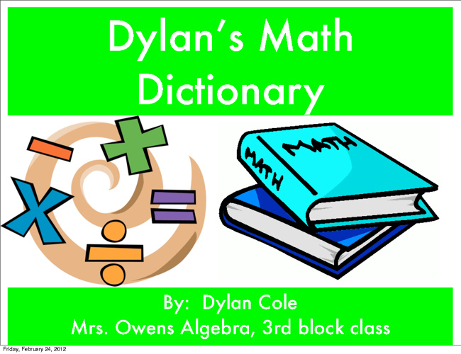 Dylan's Math Dictonary