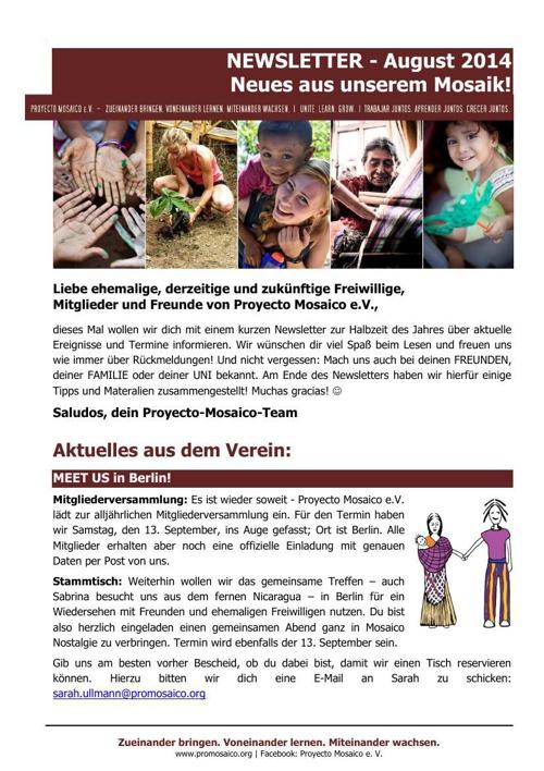 Newsletter August 2014 - Neues aus unserem Mosaik!