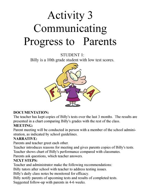 Activity 3 Communicating Progress to Parents