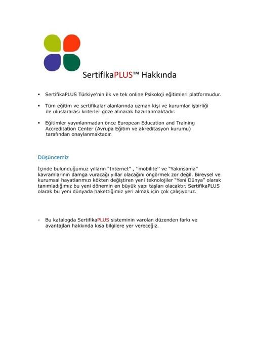 sertifika PLUS - Tanıtım