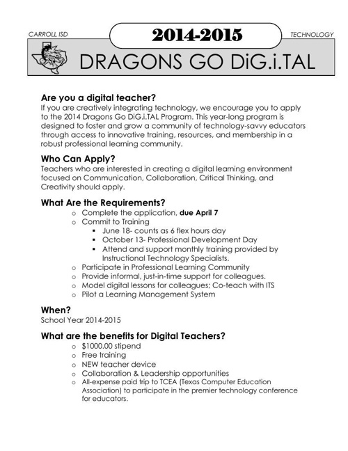 Dragons Go Digital Classroom Flyer