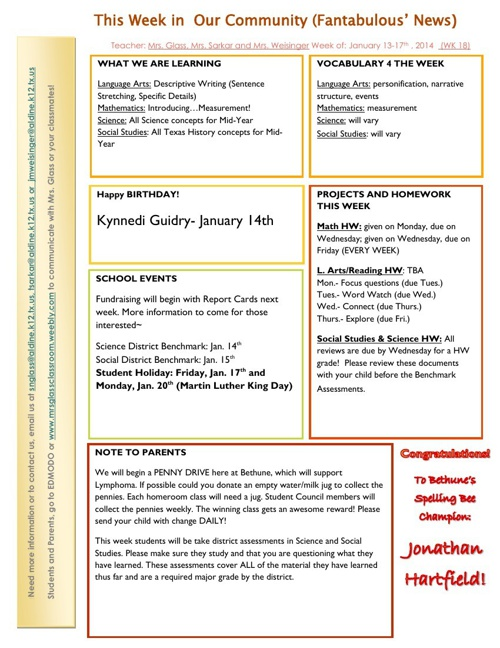 school weekly newsletter