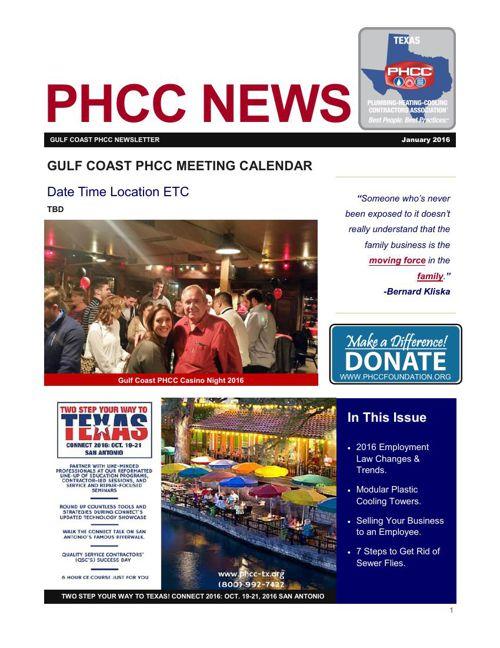GULF COAST PHCC JANUARY 2016 NEWSLETTER