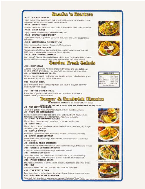Kettle Restaurant Menu