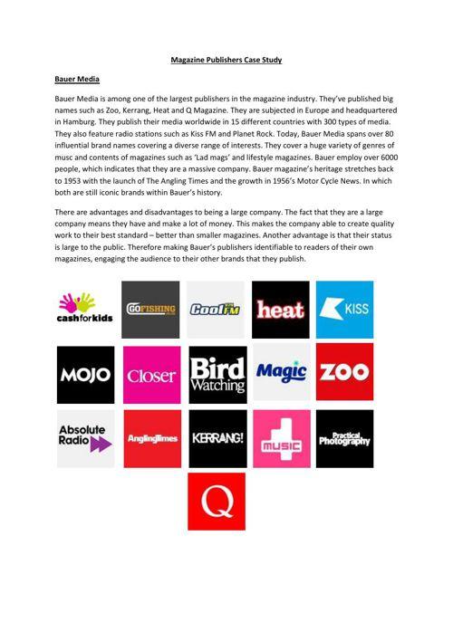 Magazine Publishers Case Study