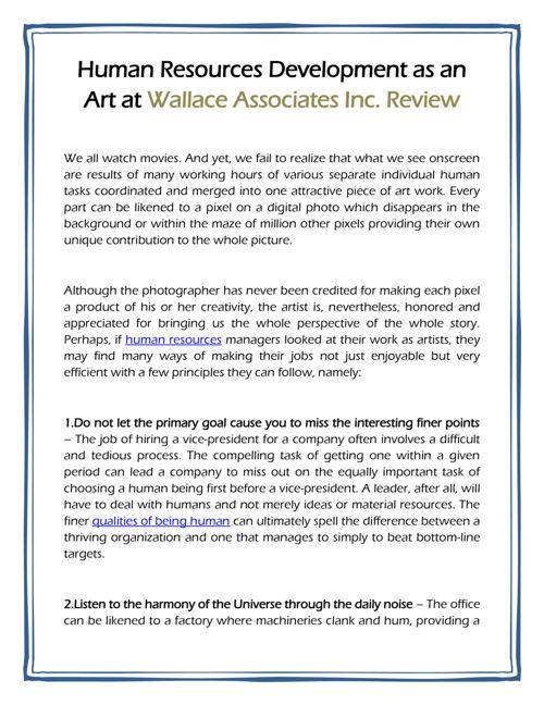 Human Resources Development as an Art at Wallace Associates