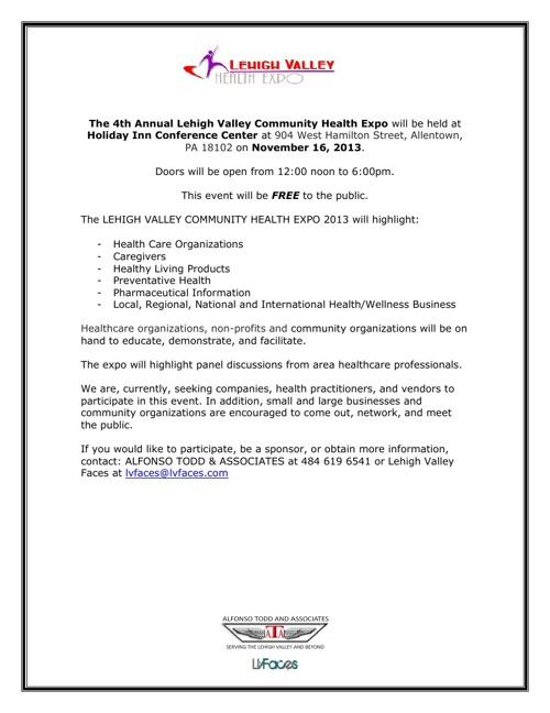 LHV Health Expo 2013 Vendor Sponsorship Packet