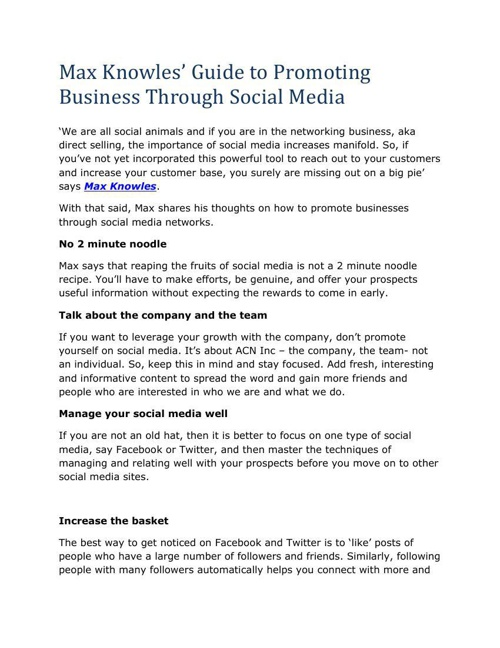 Max Knowles Guide to Promoting Business Through Social Media