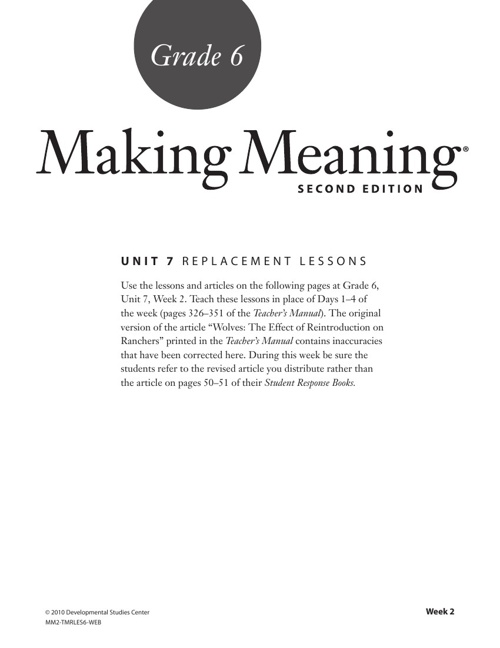Making Meaning Grade 6 Lesson
