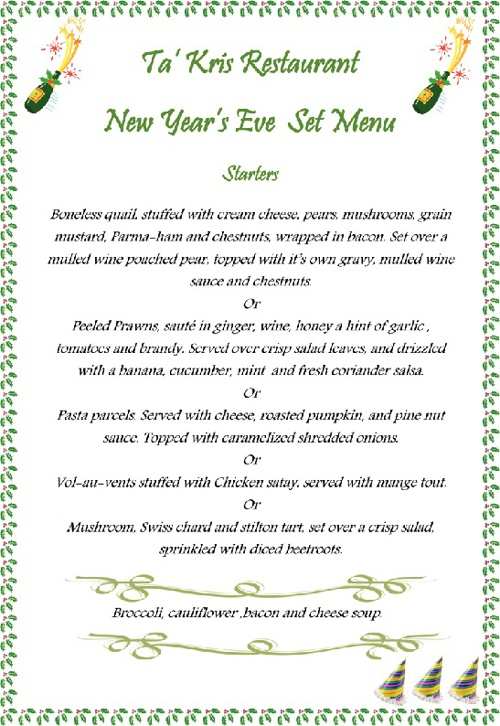 New Year's Eve Menu 2012