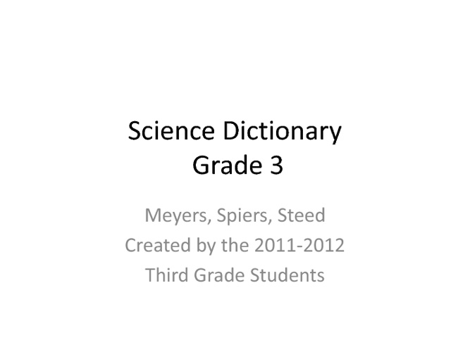 Science Dictionary Grade 3