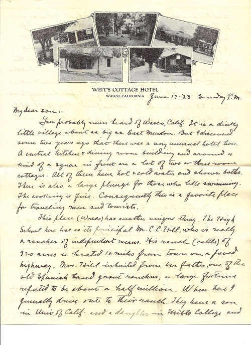 Weitt's Cottage Motel Letter