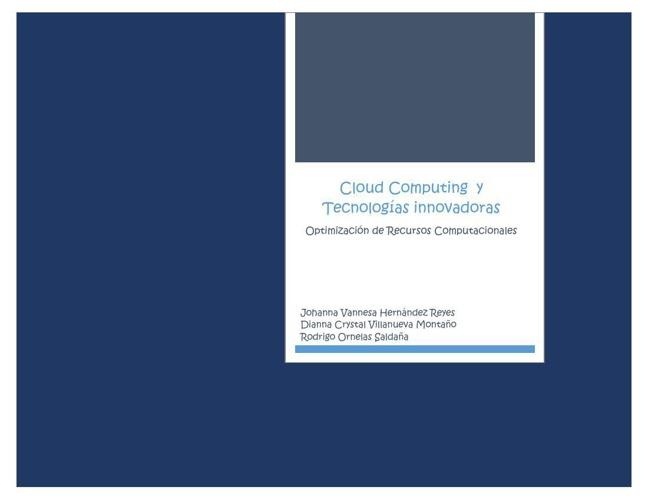 Cloud Computing y Tecnologias Inovadoras