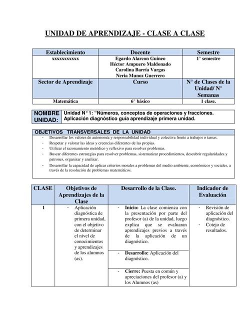 Guía con Planificación, Actividades y pauta de correcció
