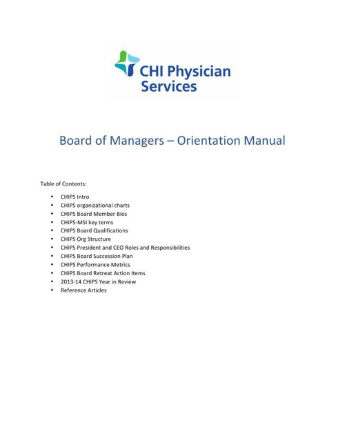 CHIPS Board Orientation Booklet