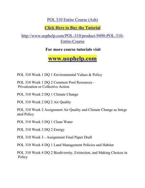 POL 310 Instant Education/uophelp
