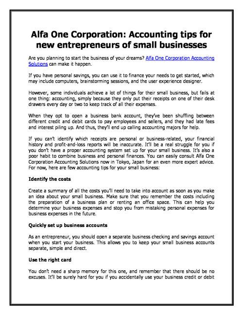 Alfa One Corporation: Accounting tips for new entrepreneurs of s