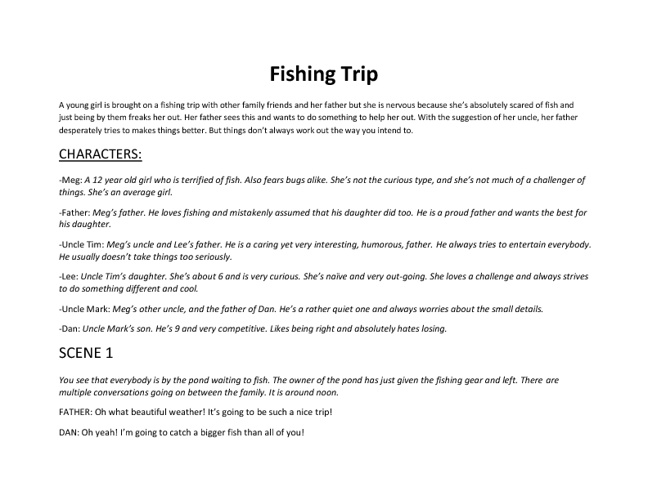 One Act Play- Fishing Trip