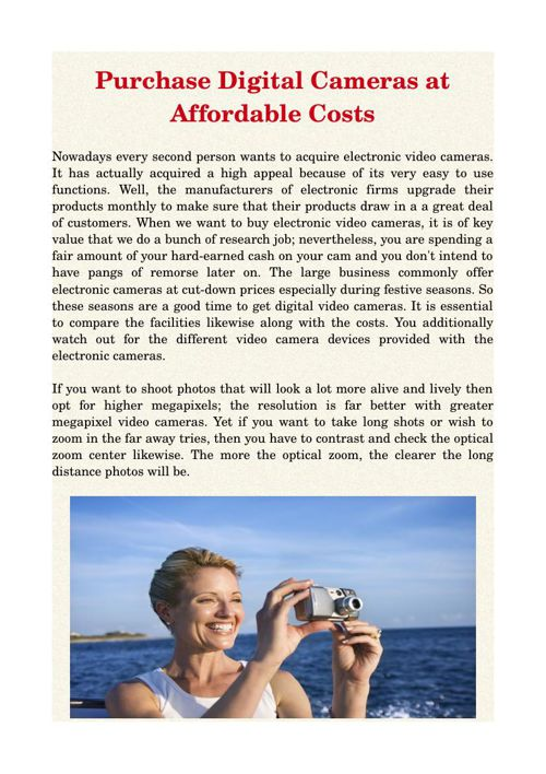 Purchase Digital Cameras at Affordable Costs