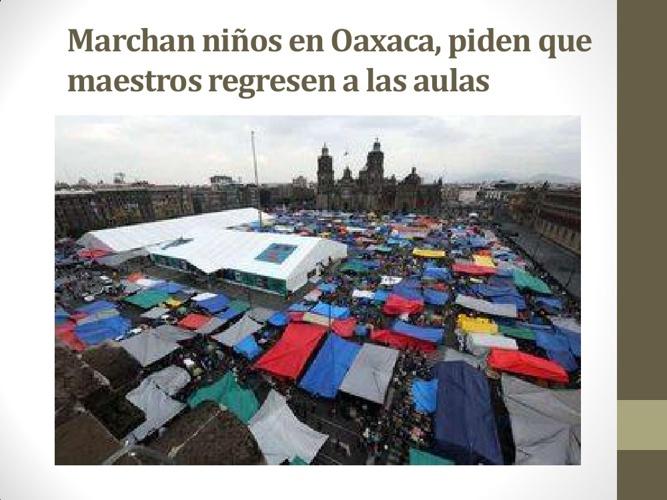 Marchan niños en Oaxaca, piden que maestros regresen a las aulas