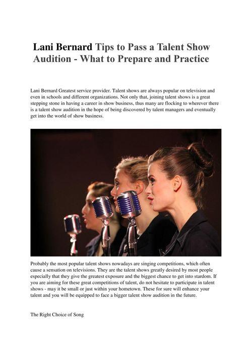 Lani Bernard Tips to Pass a Talent Show Audition