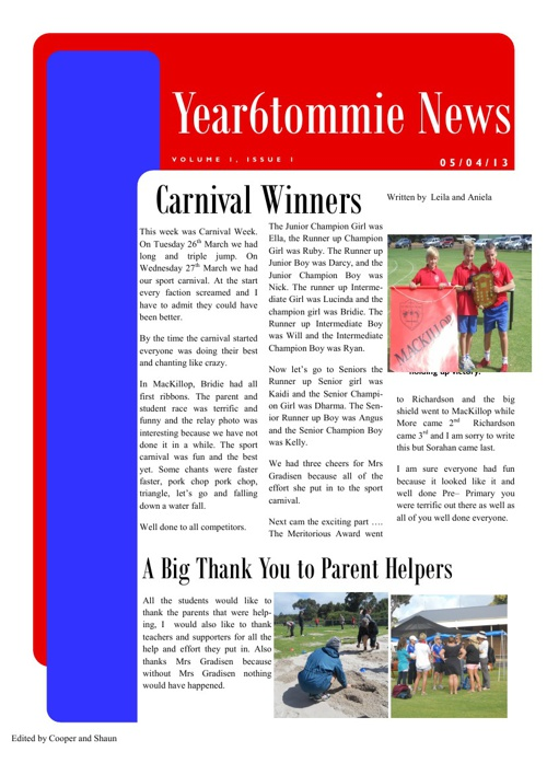 Newsletter 2 - Athletics Carnival