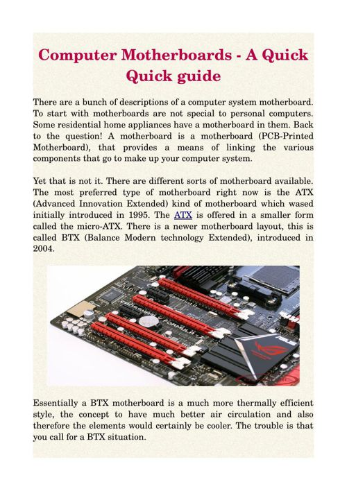 Computer Motherboards - A Quick Quick guide