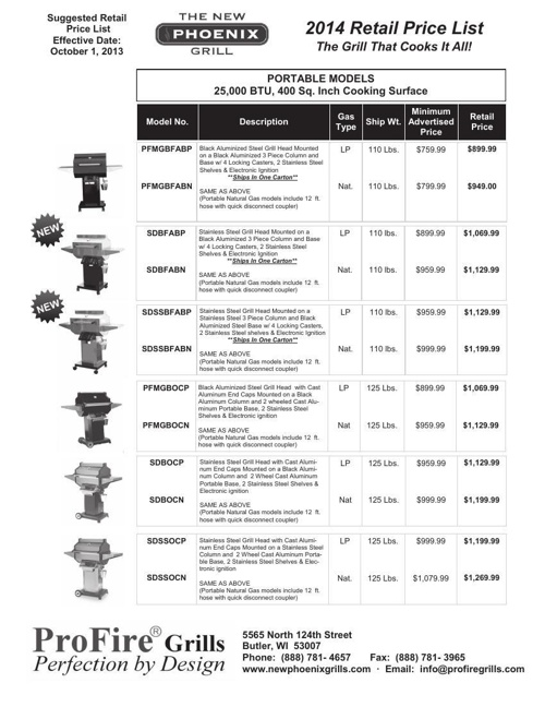 2014 PHOENIX Retail Price List