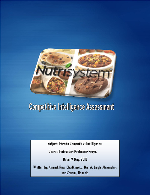 Nutrisystem - Competitive Intelligence Assessment