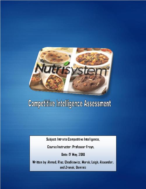 Nutrisystem - Competitive Intelligence Assessment