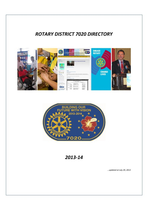 Rotary District 7020 Directory for 2013-14
