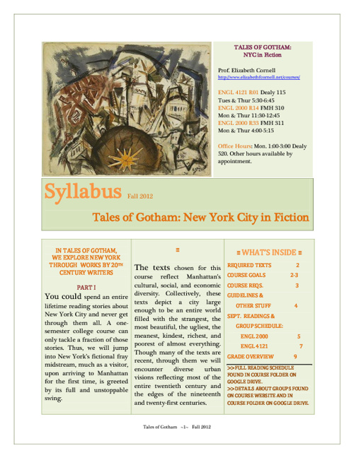 Tales of Gotham Course Syllabus ~ Fall 2012