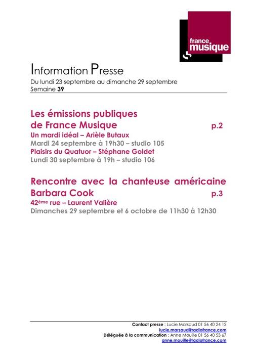 Programmes France Musique du 23 au 29 septembre