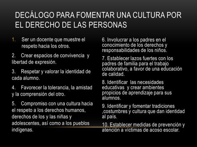 Decálogo para fomentar una cultura por el derecho