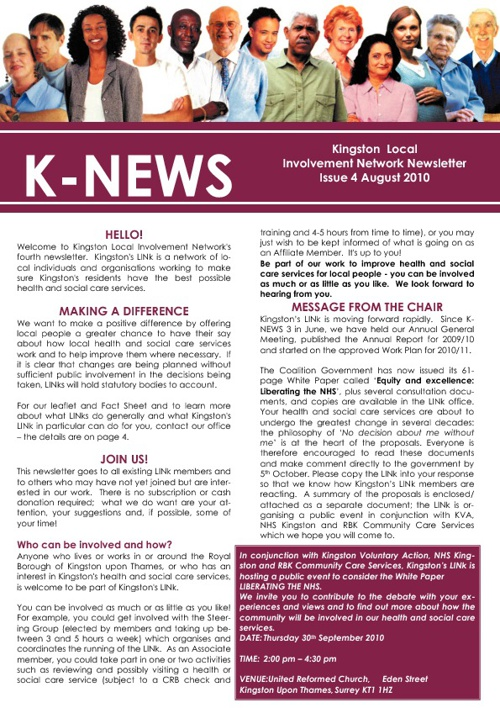 Kingston LINKs August 2010 Newsletter