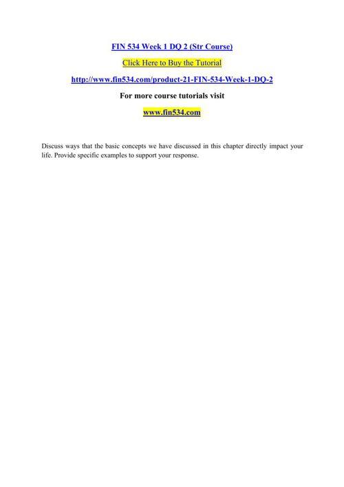 FIN 534 Week 1 DQ 2 (Str Course)
