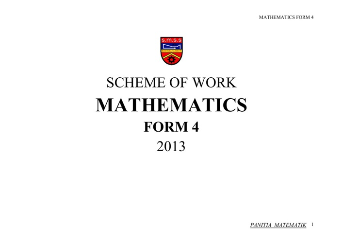 SCHEME OF WORK - FORM 4 2013