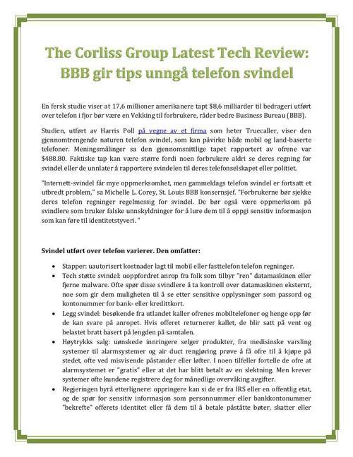 The Corliss Group Latest Tech Review: BBB gir tips unngå telefon