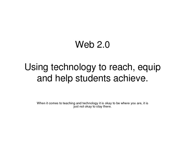 Web 2.0 for Student Use