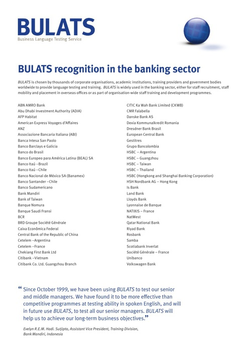 BULATS Banking Finance Sectors