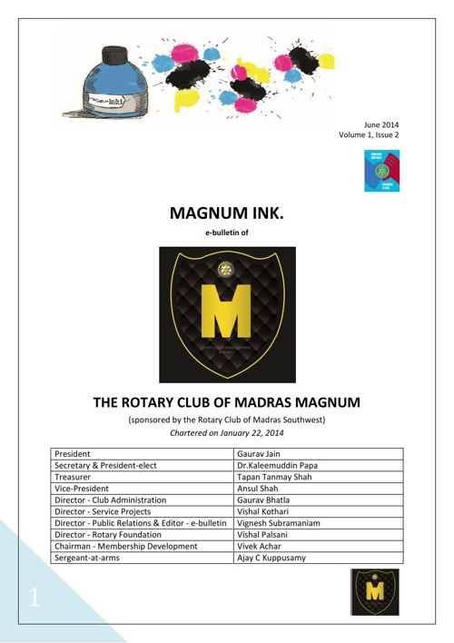 Magnum Ink., Volume 1, Issue 2