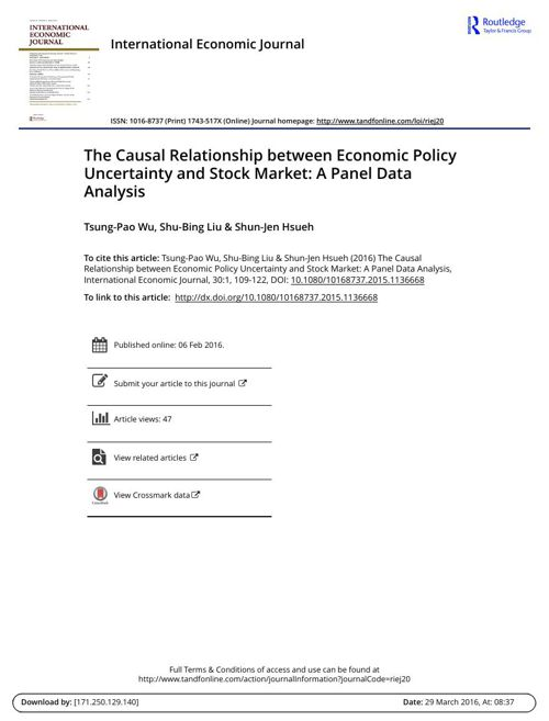 The Causal Relationship between Economic Policy Uncertainty and