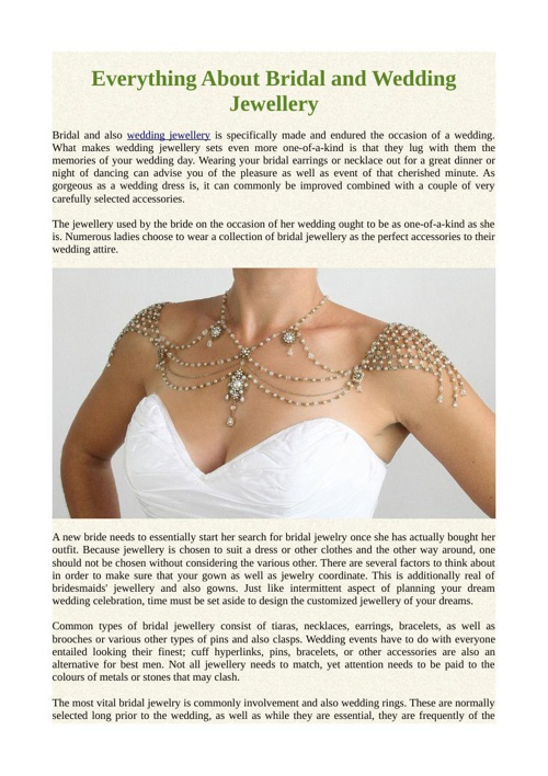 Everything About Bridal and Wedding Jewellery