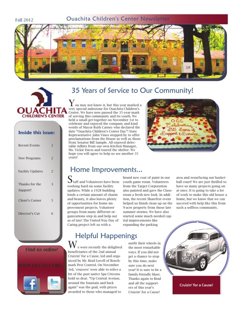 Fall Newsletter, 2012