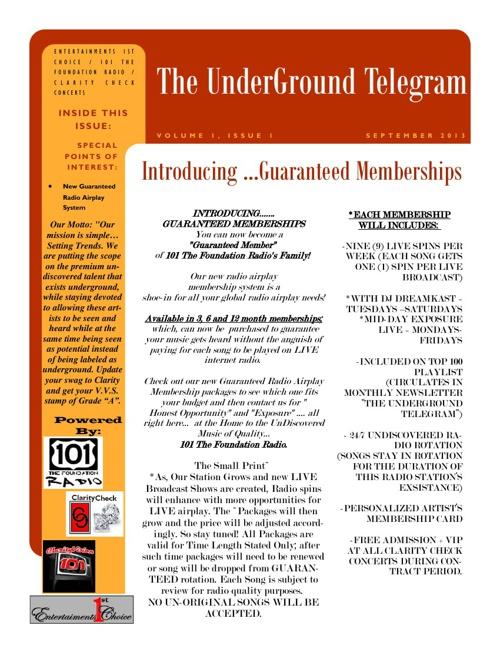 The UnderGround Telegram~September 2013~Volume 1