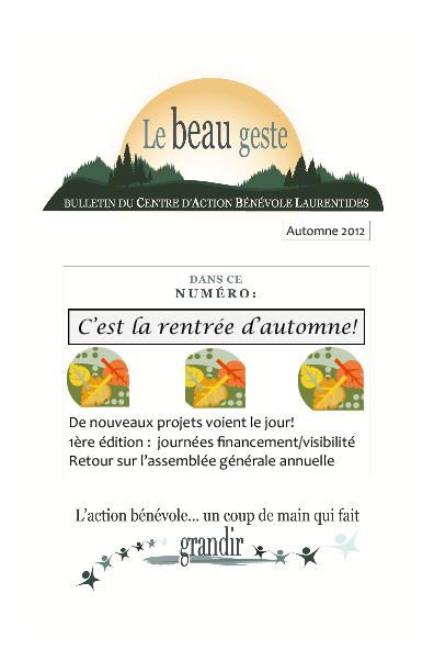 Bulletin CABL - automne 2012