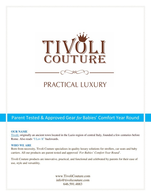 TIVOLI COUTURE Inc. PRESS KIT